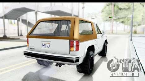 Ford Bronco from Bully para GTA San Andreas vista direita