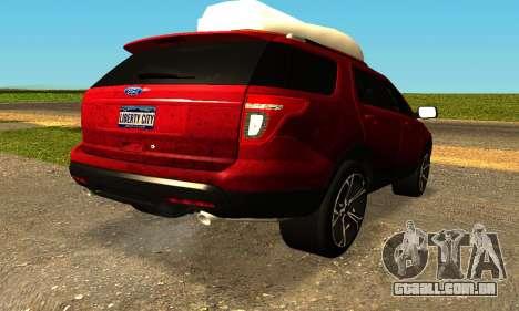 Ford Explorer 2013 para GTA San Andreas esquerda vista