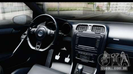 Volkswagen Golf R para GTA San Andreas vista interior