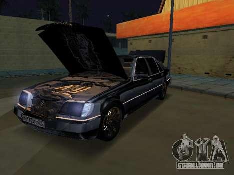 Mersedes-Benz W140 600SEL para GTA San Andreas traseira esquerda vista