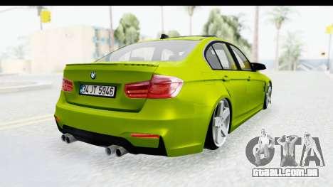 BMW M3 F30 Hulk para GTA San Andreas esquerda vista