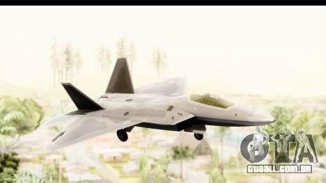 Lockheed Martin F-22 Raptor para GTA San Andreas traseira esquerda vista
