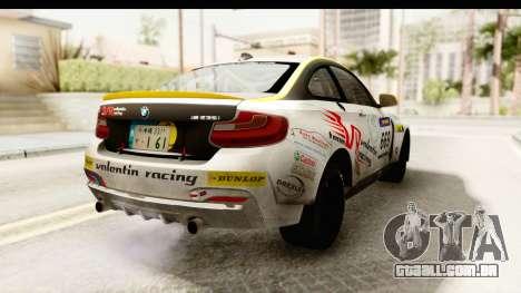 BMW M235i Coupe para GTA San Andreas traseira esquerda vista