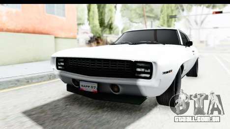 Chevrolet Camaro SS 1968 White Edition para GTA San Andreas
