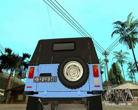 Luaz 969 Armenian para GTA San Andreas traseira esquerda vista