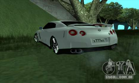 Nissan GT-R R35 Green Screen para GTA San Andreas esquerda vista