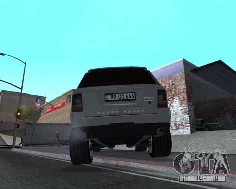 Range Rover Armenian para GTA San Andreas vista traseira
