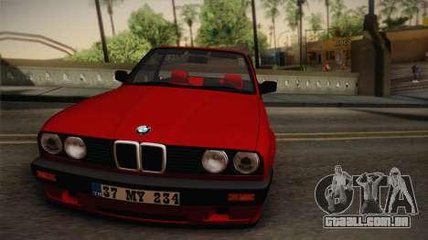 BMW M3 E30 1991 v2 para GTA San Andreas traseira esquerda vista