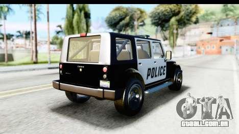 Canis Mesa Police para GTA San Andreas esquerda vista