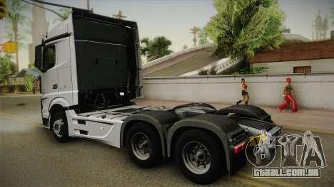 Mercedes-Benz Actros Mp4 6x4 v2.0 Steamspace v2 para GTA San Andreas esquerda vista
