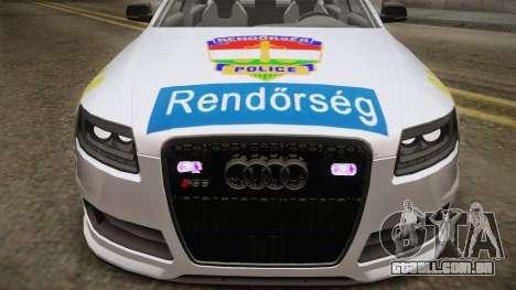 Audi RS6 Hungarian Police para GTA San Andreas traseira esquerda vista