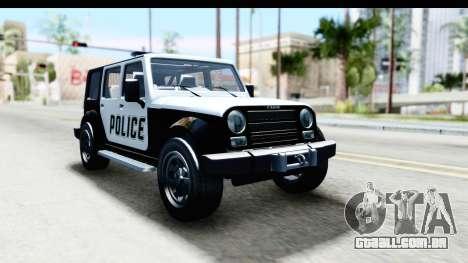 Canis Mesa Police para GTA San Andreas traseira esquerda vista