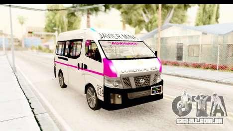 Nissan NV350 Urvan Comercial Mexicana para GTA San Andreas