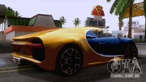 Bugatti Chiron 2017 v2.5 para GTA San Andreas traseira esquerda vista