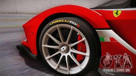 Ferrari FXX-K 2015 PJ para GTA San Andreas traseira esquerda vista