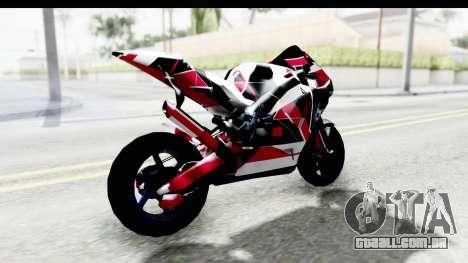 Dark Smaga Motorcycle with Frostbite 2 Logos para GTA San Andreas traseira esquerda vista