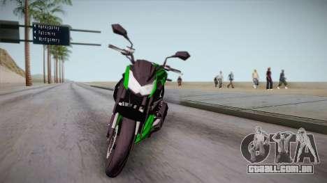 Kawasaki Z1000 2013 para GTA San Andreas traseira esquerda vista
