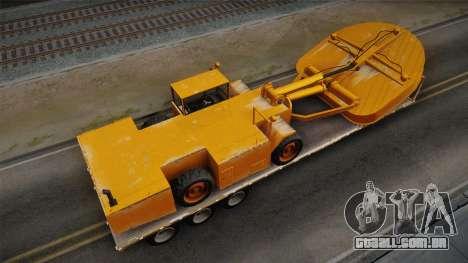 GTA 5 Army Flat Trailer with Cutter IVF para GTA San Andreas traseira esquerda vista