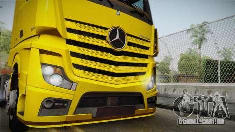 Mercedes-Benz Actros Mp4 4x2 v2.0 Gigaspace v2 para GTA San Andreas traseira esquerda vista