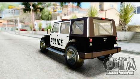 Canis Mesa Police para GTA San Andreas vista direita