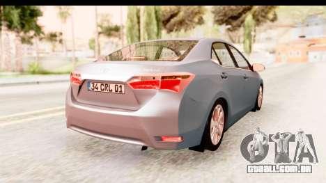 Toyota Corolla 2014 IVF para GTA San Andreas esquerda vista