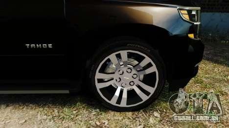 Chevrolet Tahoe 2015 V1.1 para GTA 4 traseira esquerda vista