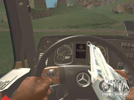 Mercedes-Benz Actros Mp4 4x2 v2.0 Gigaspace v2 para GTA San Andreas vista interior