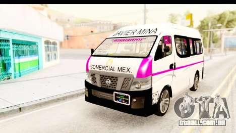 Nissan NV350 Urvan Comercial Mexicana para GTA San Andreas traseira esquerda vista