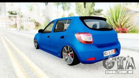 Dacia Sandero 2013 para GTA San Andreas traseira esquerda vista