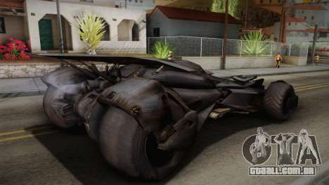 Batman VS Superman Batmobile para GTA San Andreas esquerda vista