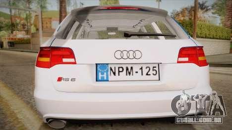 Audi RS6 Hungarian Police para GTA San Andreas vista direita