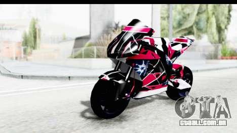 Dark Smaga Motorcycle with Frostbite 2 Logos para GTA San Andreas vista traseira