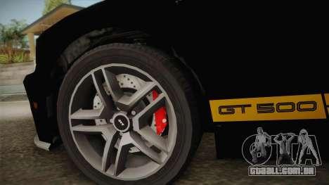 Ford Mustang GT500 para GTA San Andreas vista traseira