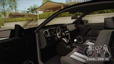 Ford Mustang GT500 para GTA San Andreas vista interior