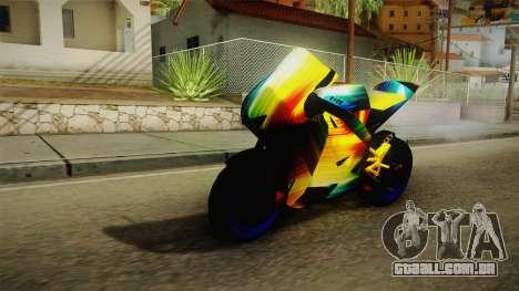 Rainbow Motorcycle para GTA San Andreas traseira esquerda vista