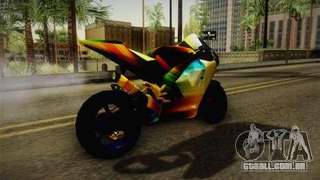 Rainbow Motorcycle para GTA San Andreas vista direita
