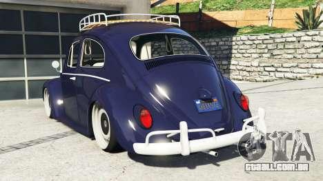 GTA 5 Volkswagen Fusca 1968 v0.9 [add-on] traseira vista lateral esquerda
