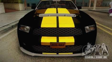 Ford Mustang GT500 para GTA San Andreas traseira esquerda vista