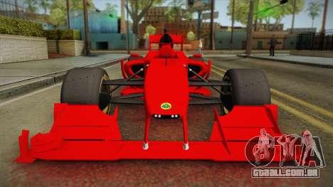 Lotus F1 T125 para GTA San Andreas vista direita