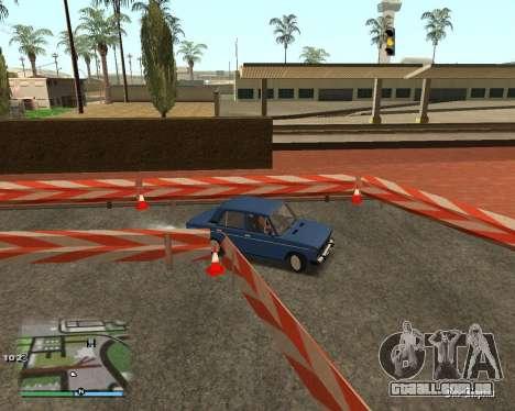 O circuito, como na escola de condução para GTA San Andreas sexta tela