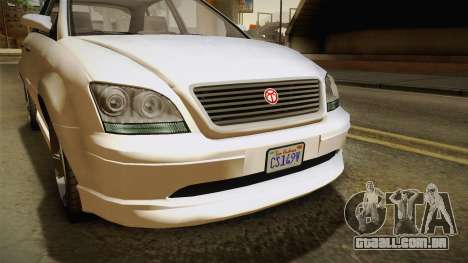 GTA 5 Emperor Habanero IVF para GTA San Andreas vista interior