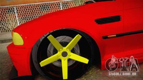 BMW M3 E46 Turkish Stance para GTA San Andreas traseira esquerda vista