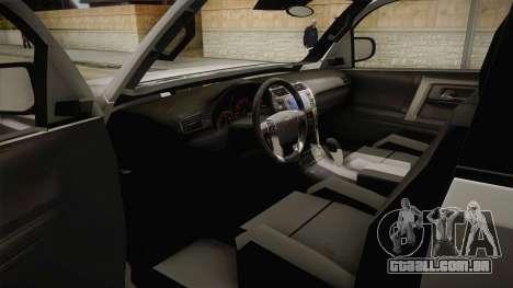 Toyota 4runner 2010 para GTA San Andreas vista interior