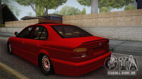BMW 530d E39 Red Black para GTA San Andreas esquerda vista