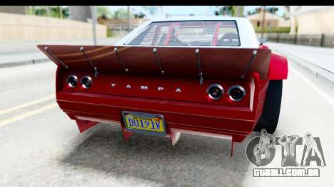 GTA 5 Declasse Tampa Drift IVF para GTA San Andreas vista inferior