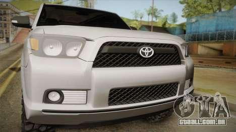 Toyota 4runner 2010 para GTA San Andreas traseira esquerda vista