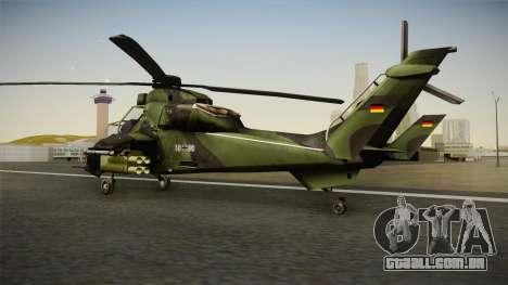 Eurocopter Tiger Extra Skin para GTA San Andreas esquerda vista
