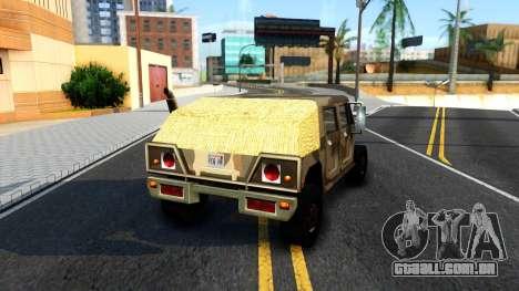 New Patriot GTA V para GTA San Andreas traseira esquerda vista
