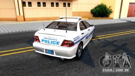 1998 Dinka Chavos Montgomery Police Department para GTA San Andreas traseira esquerda vista