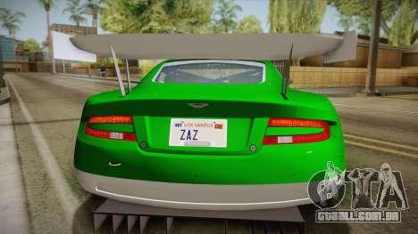 Aston Martin Racing DBR9 2005 v2.0.1 YCH Dirt para GTA San Andreas vista traseira